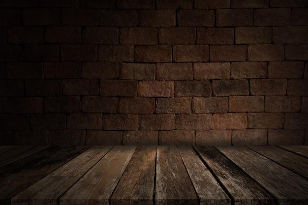 レンガの壁、汚れた背景のある昔の部屋