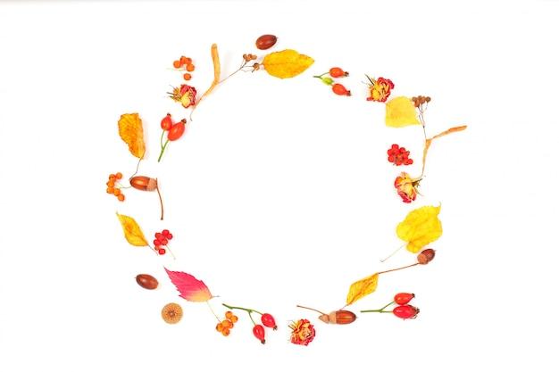 Рама изготовлена из сухих цветов и осенних листьев.