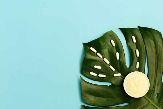 ヤシの葉の背景にボウルや錠剤のコラーゲンパウダー