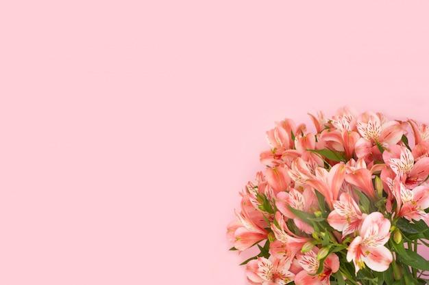 ピンクの背景にアルストロメリアの花の美しい花束。