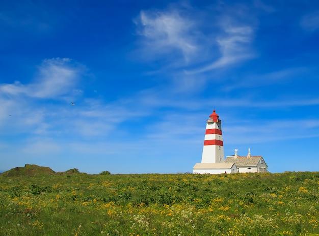 オーレスン近くゴドイ島の澄んだ空にアルネス灯台、