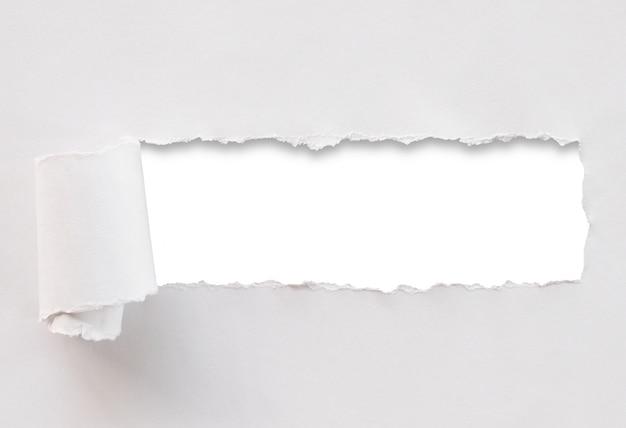 破れた紙の白い背景で隔離されました。