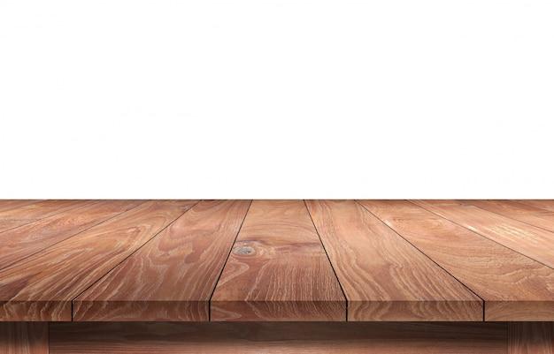 白で隔離される木製のテーブル。
