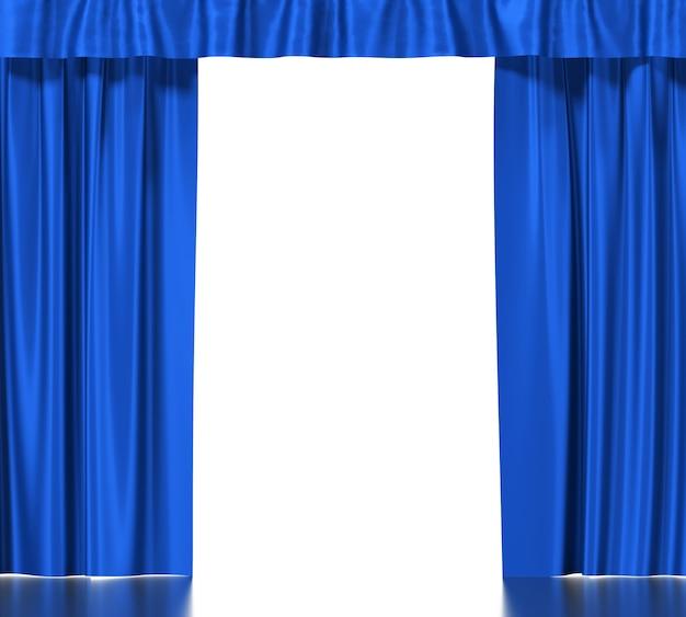 分離されたガーターと青い絹のカーテン