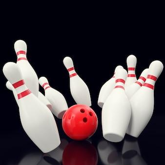 赤いボールがスキットルズにぶつかるボウリングゲーム。