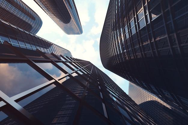 高層ビルの低角度のビュー。