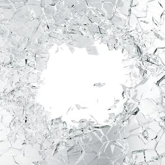 割れたガラスの背景、抽象的な白に分離された作品