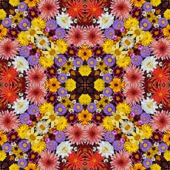 美しい秋の花の背景。万華鏡の効果。