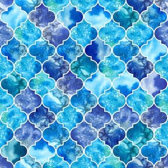 大きなシームレスパターン、水彩のモロッコの大理石の青いタイル