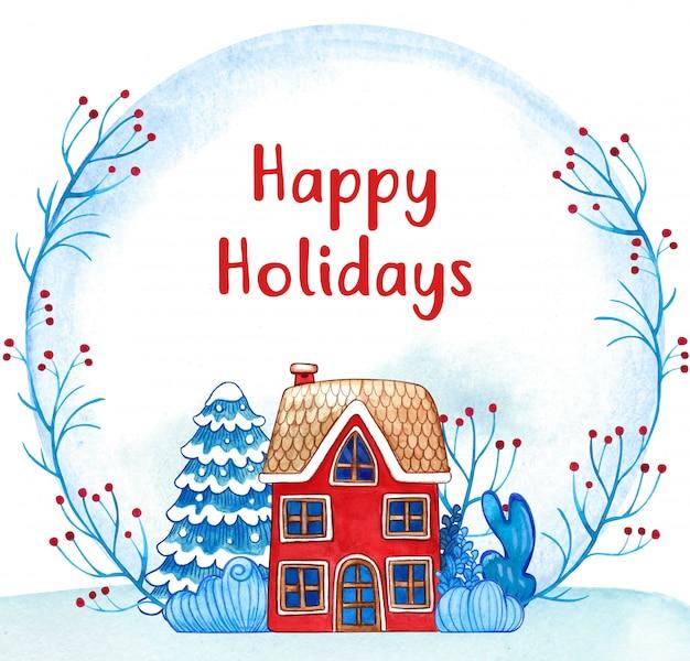冬の水彩ホリデーギフトカード、居心地の良い家