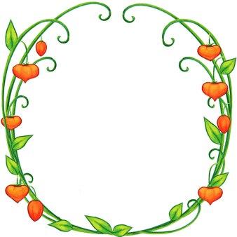 Акварель цветочная рамка сказочный фонарь завод