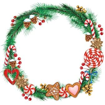 松ぼっくりやお菓子と水彩クリスマスリース