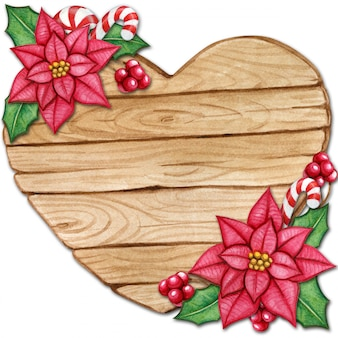 Деревянное сердце с пуансеттия и холли