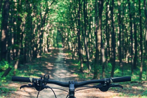 自転車で速く下り坂をサイクリングするマウンテンバイク。バイカーの目からの眺め。