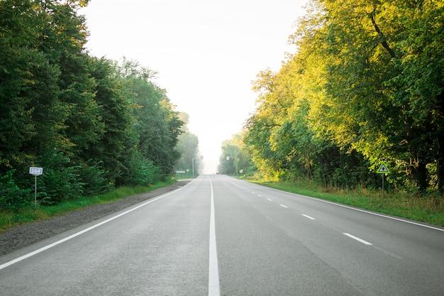 アスファルト道路と山