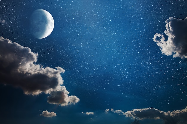 Фон ночного неба со звездами и луной. элементы этого изображения, представленные наса