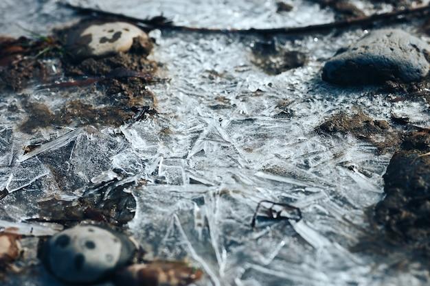 春の川に凍った水たまり上の氷の結晶パターン