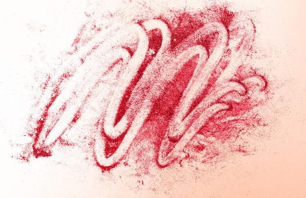 Красный глиттер со звездами на бежевом абстрактном фоне для валентинок