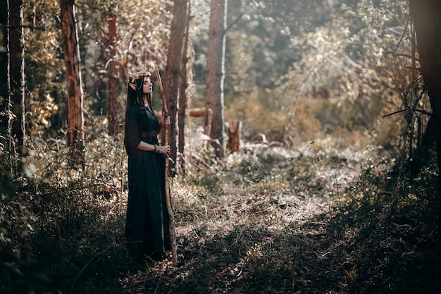美しいエルフの女性、長い耳を持つ妖精の森、頭の上の長い黒髪ゴールデンリースクラウン