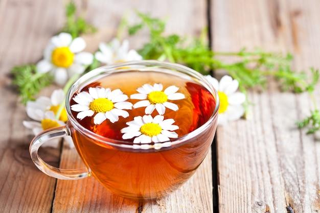 カモミールの花とお茶のカップ