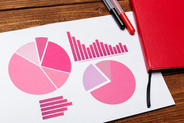 ビジネス紙のチャートまたは木製テーブルの上のグラフのトップビュー