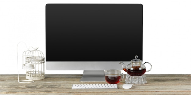Грязный интерьер дома столешницы с монитора компьютера и клавиатуры. передний план