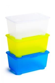 プラスチック製のお弁当箱、白で隔離