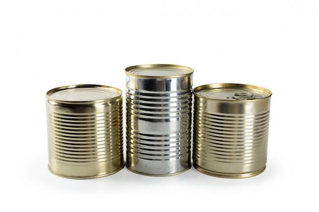 白地に金属缶。