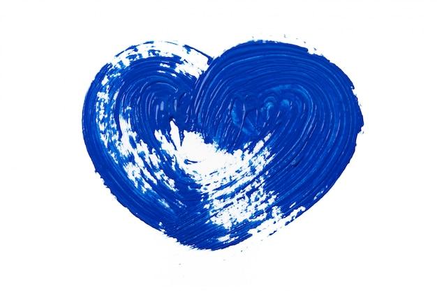 白で隔離される塗料の青い痕跡