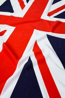 ユニオンジャックの旗のクローズアップ