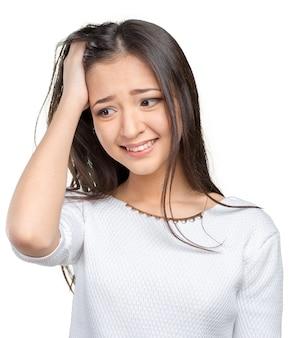 ビジネスの女性の欲求不満と強調