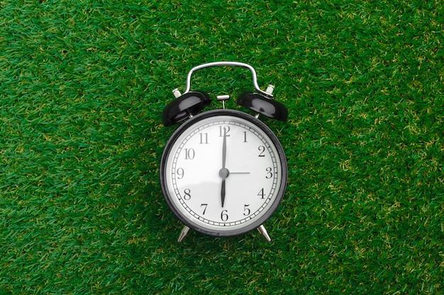 草の上の目覚まし時計