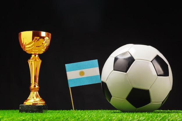 サッカーボールの芝生の上でサッカーカップ