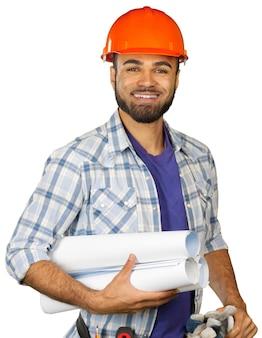白で隔離される建設労働者