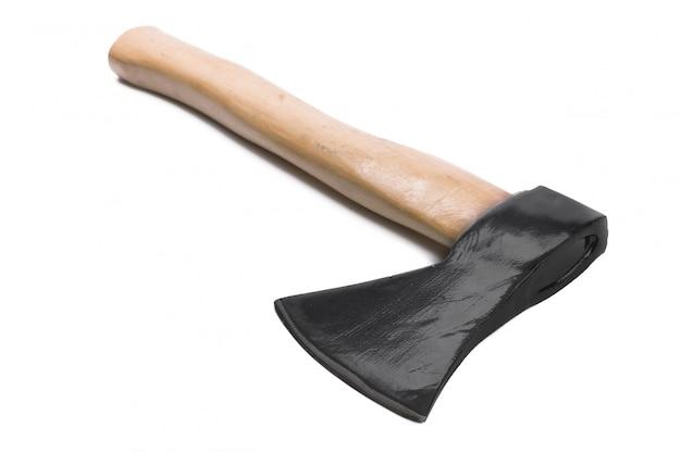 白で隔離される斧