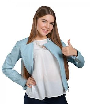 Женщина в синем пиджаке