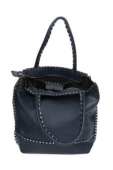 レザーの女性のハンドバッグ、白で分離