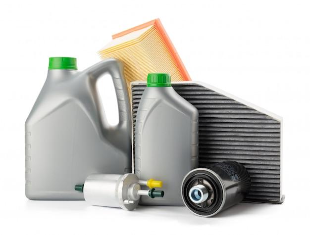 車のオイルフィルターとモーターオイル缶白で分離