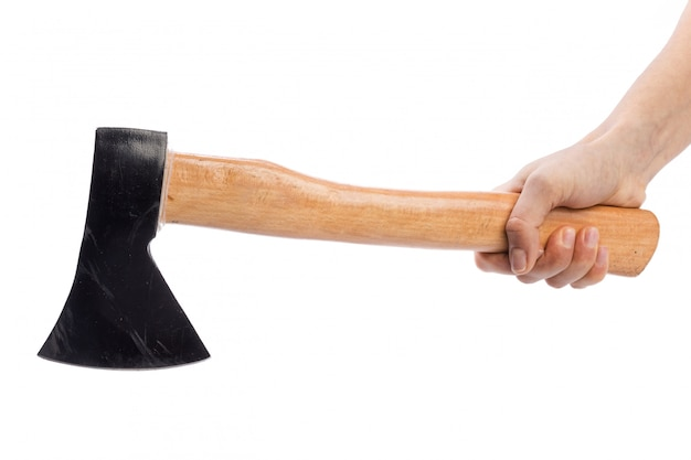 斧、白で隔離されます。