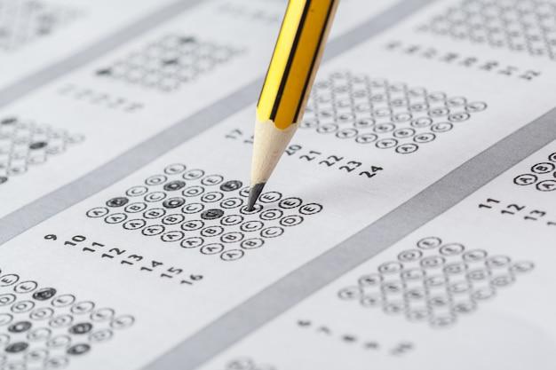 Тестовый лист с ответами