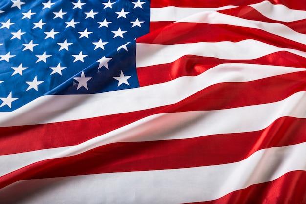 フリルのアメリカ国旗のクローズアップ