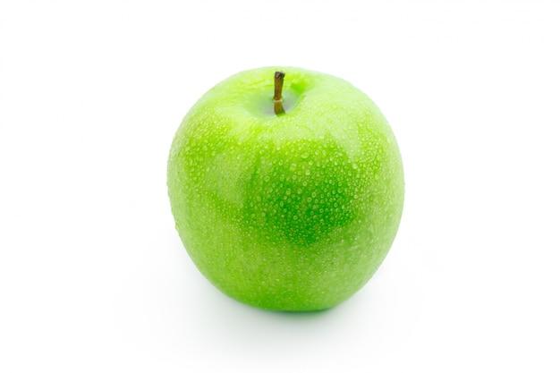 白で隔離される完璧な新鮮なグリーンアップル