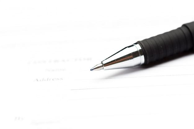 契約上のペンのクローズアップ