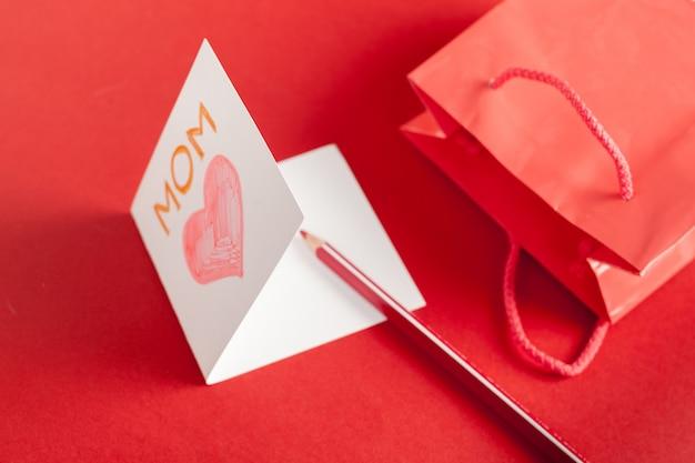 赤の幸せな母の日カード
