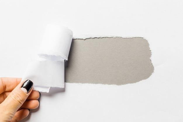 引き裂かれた側面を持つ紙の穴