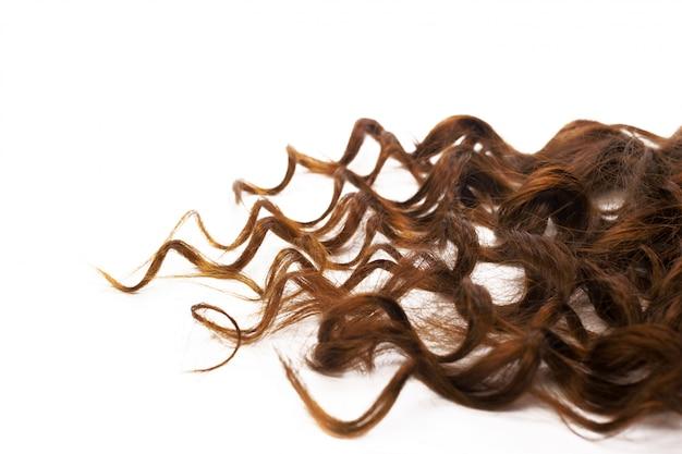 白で隔離される巻き毛の茶色の髪