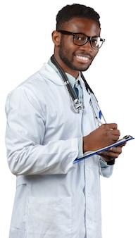 フリップチャートを白で隔離される医者