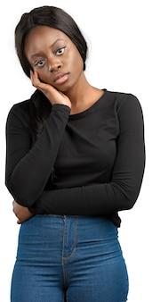 がっかりしている若いアフリカ系アメリカ人女性
