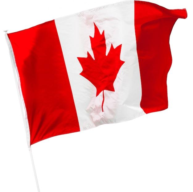 カナダの国旗、白で隔離