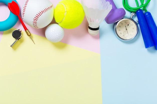 各種スポーツ用品の背景